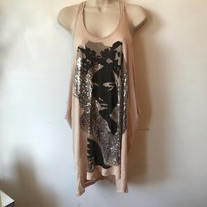 Cream Black Sequined Beaded Flowy Tunic Tank Top